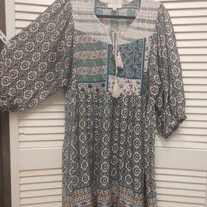 UMGEE Boho Bohemian Print Tunic Dress L